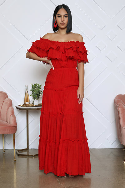 Off The Shoulder Ruffle Maxi (Red)- FINAL SALE