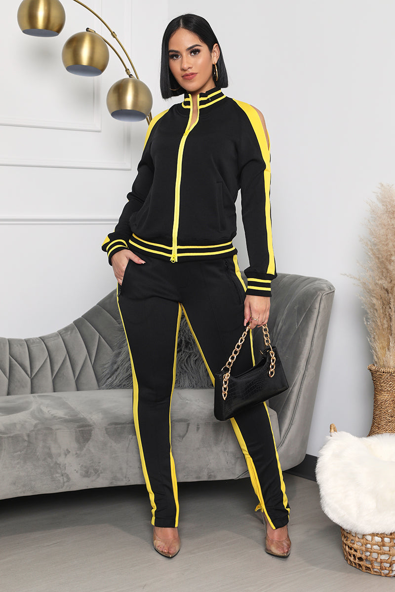 Cold Shoulder Jogger Set (Black/Yellow)