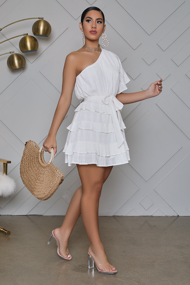 One Shoulder Tiered Ruffle Mini Dress (White)