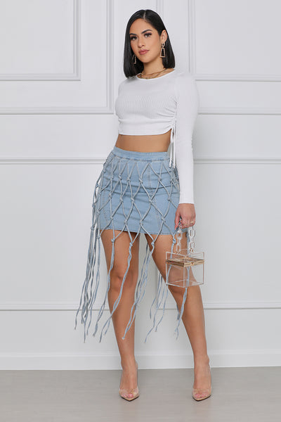 Caught Up Knotted Denim Mini Skirt