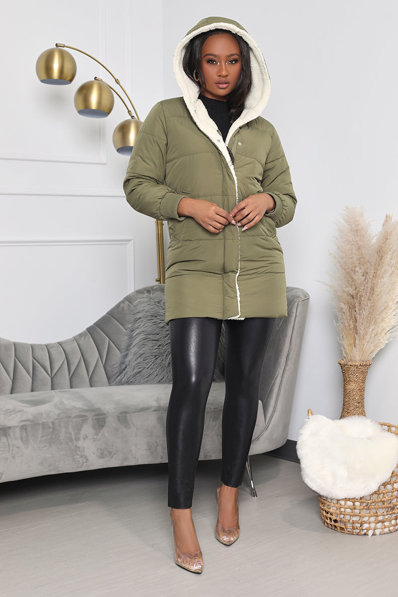 Chill Out Puffer Coat With Wool Collar (Olive Green)- FINAL SALE
