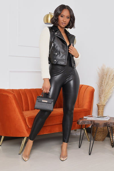 Faux Leather Jacket With Wool Sleeves (Black)