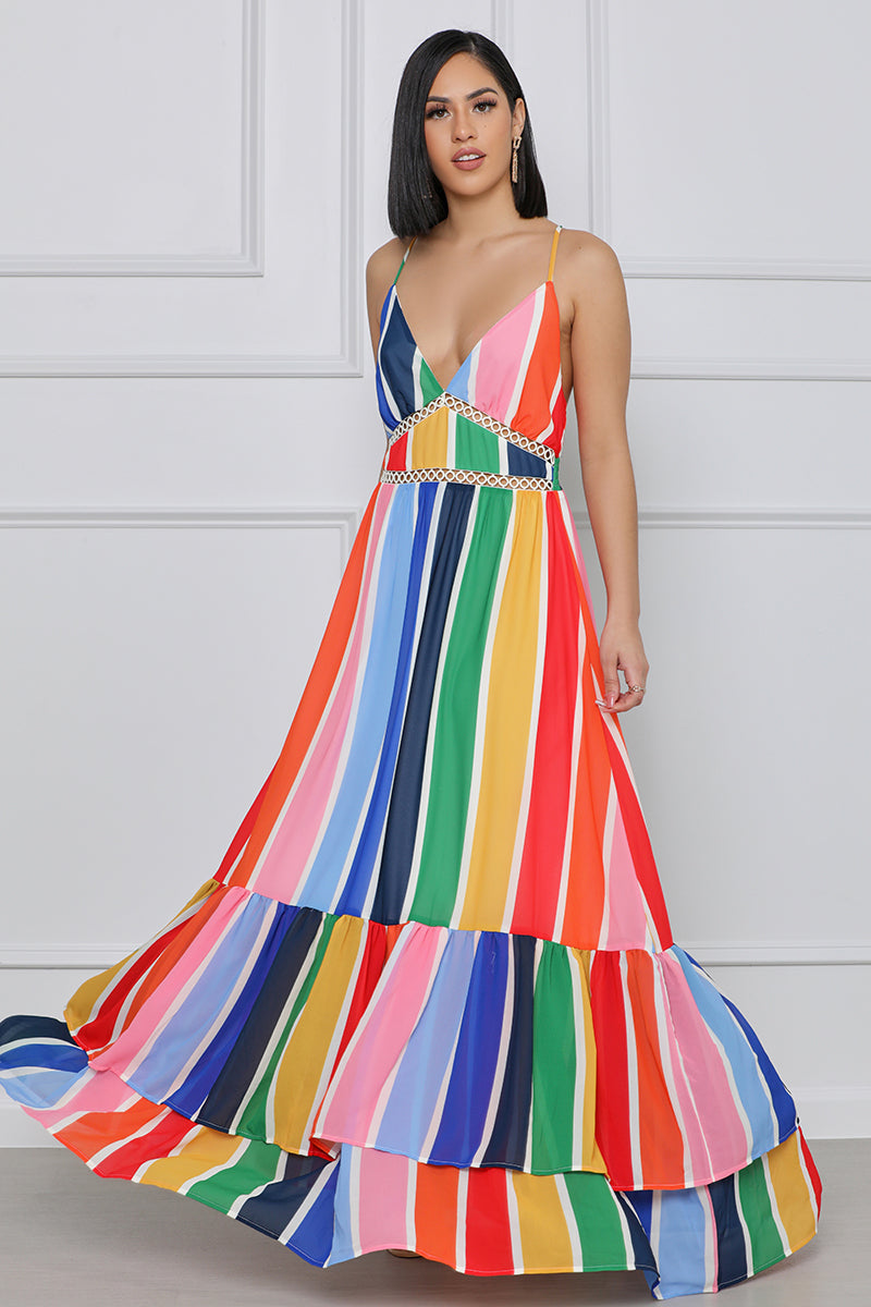 My Everything Rainbow Stripe Maxi Dress