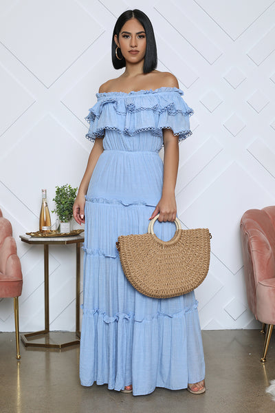 Off The Shoulder Ruffle Maxi (Blue)- FINAL SALE