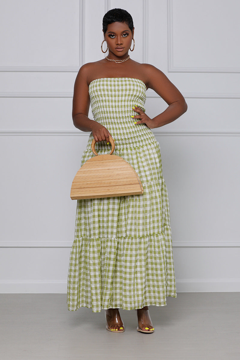 Checkin' Me Out Plaid Strapless Maxi Dress (Green & White)