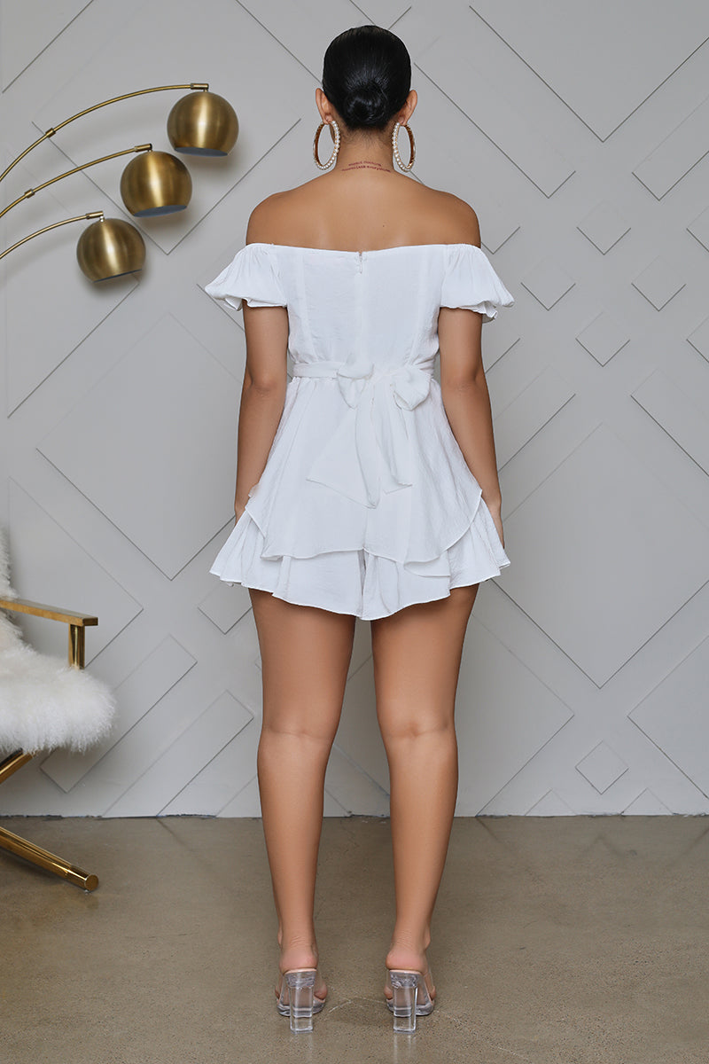 Off The Shoulder Sweetheart Ruffle Romper (White)