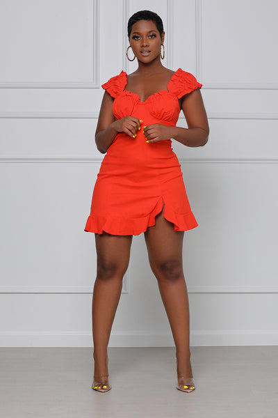 Sugar and Spice Button Up Mini Dress (Orange)