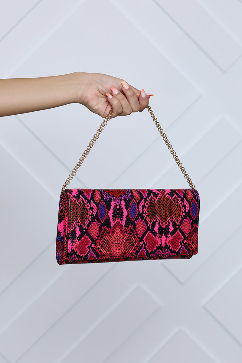 Fold Over Clutch (Pink Snake)