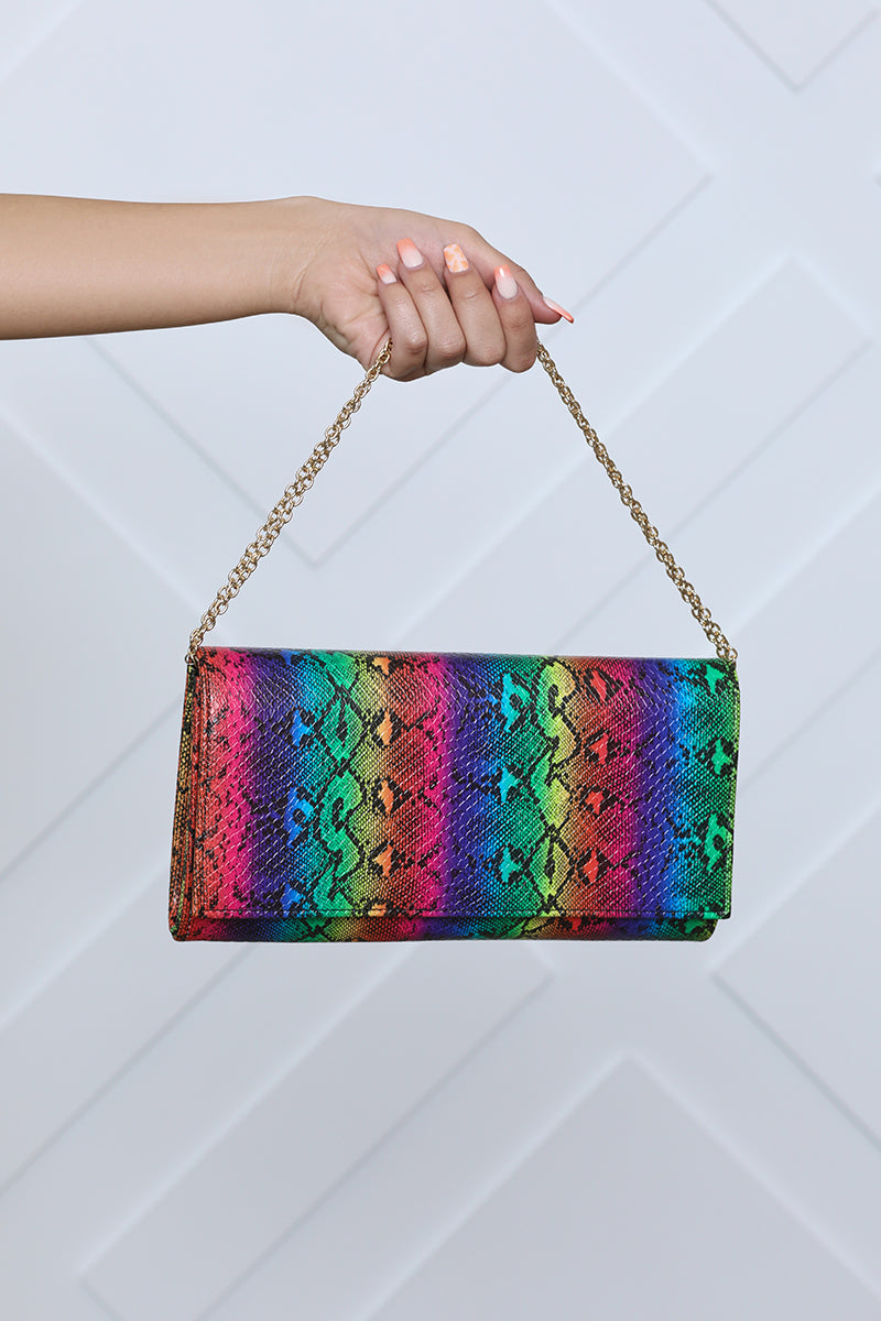 Fold Over Clutch (Rainbow Snake)