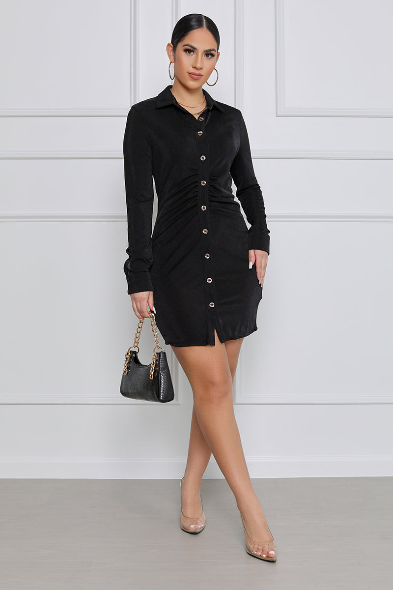 A Woman's World Button Up Ruched Mini Dress