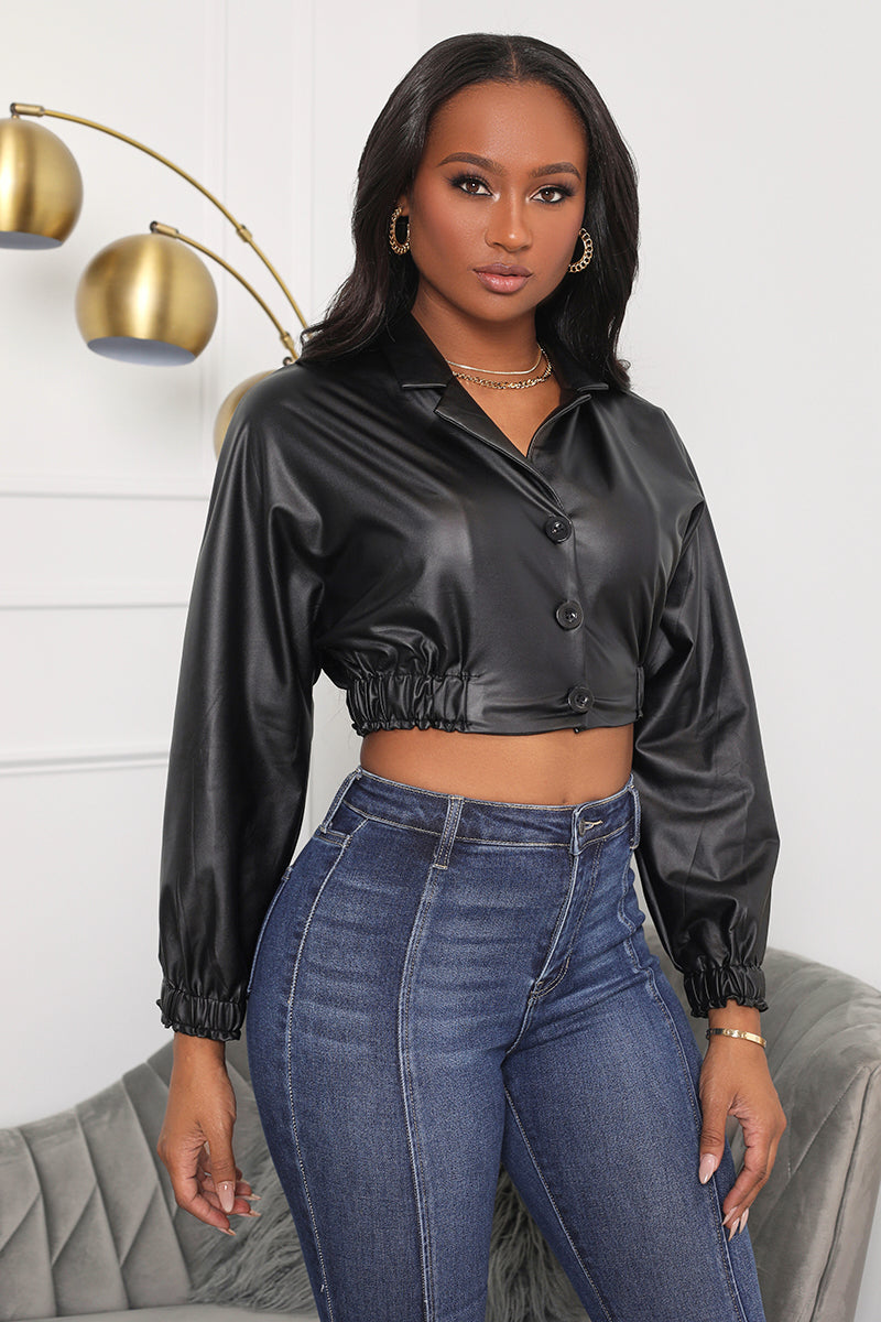 She's That Girl Faux Leather Crop Top (Black)- FINAL SALE