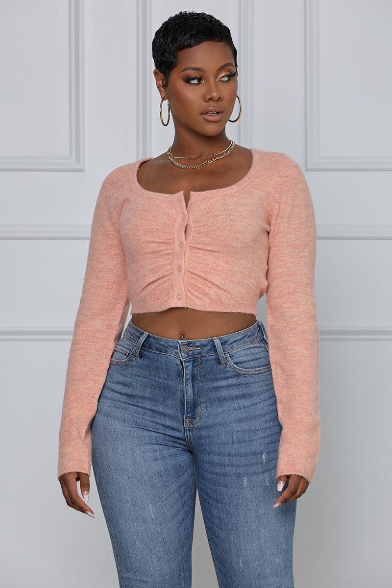 Always A Good Girl Cropped Cardigan (Pink)