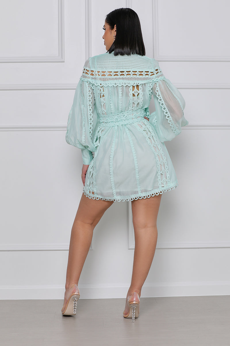 Day Dreaming Studded Lace Mini Dress (Mint)