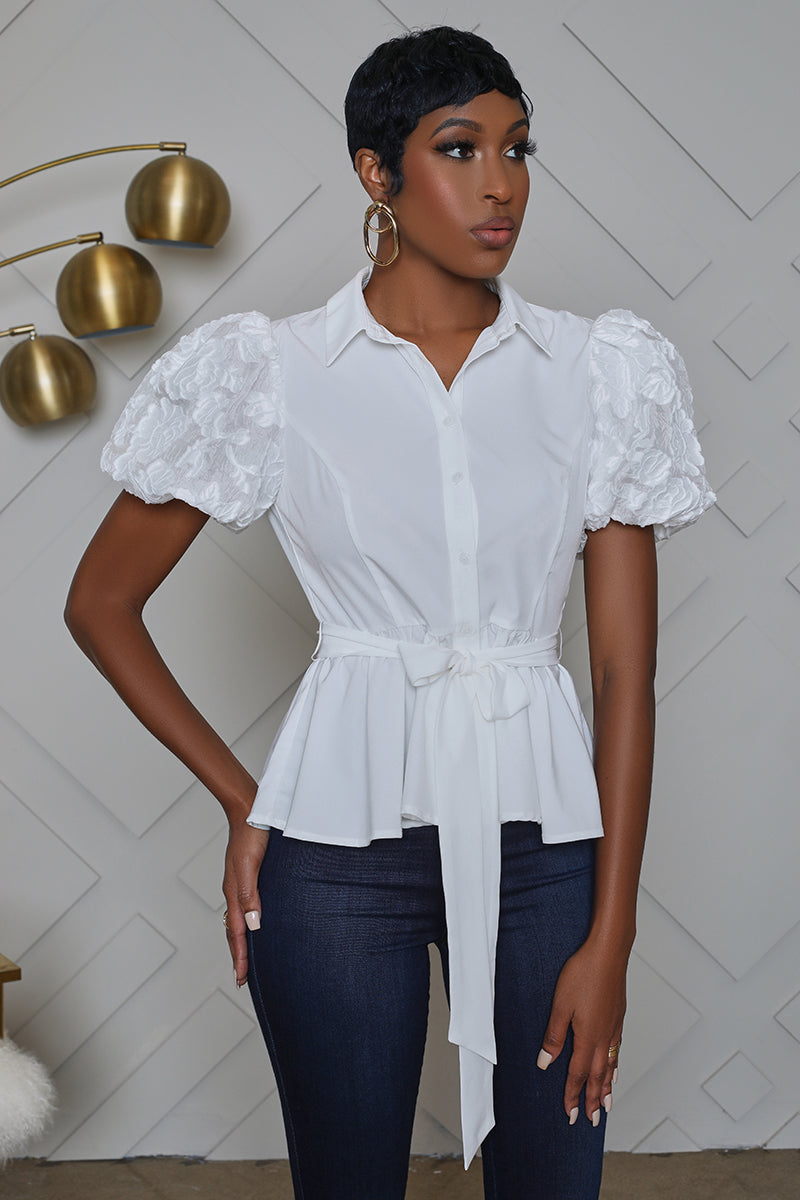 Embroidered Puff Sleeve Peplum Button Up Top