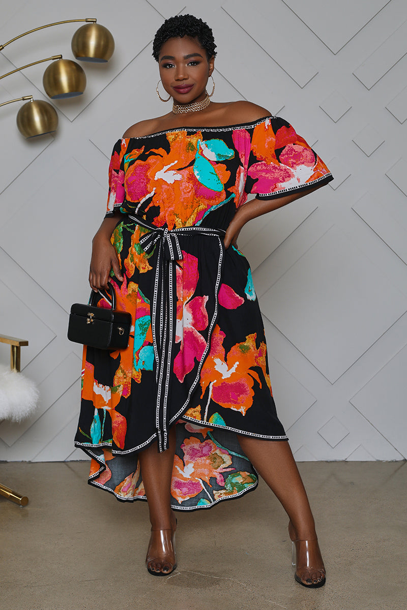 Curvy Floral Off The Shoulder Midi Dress
