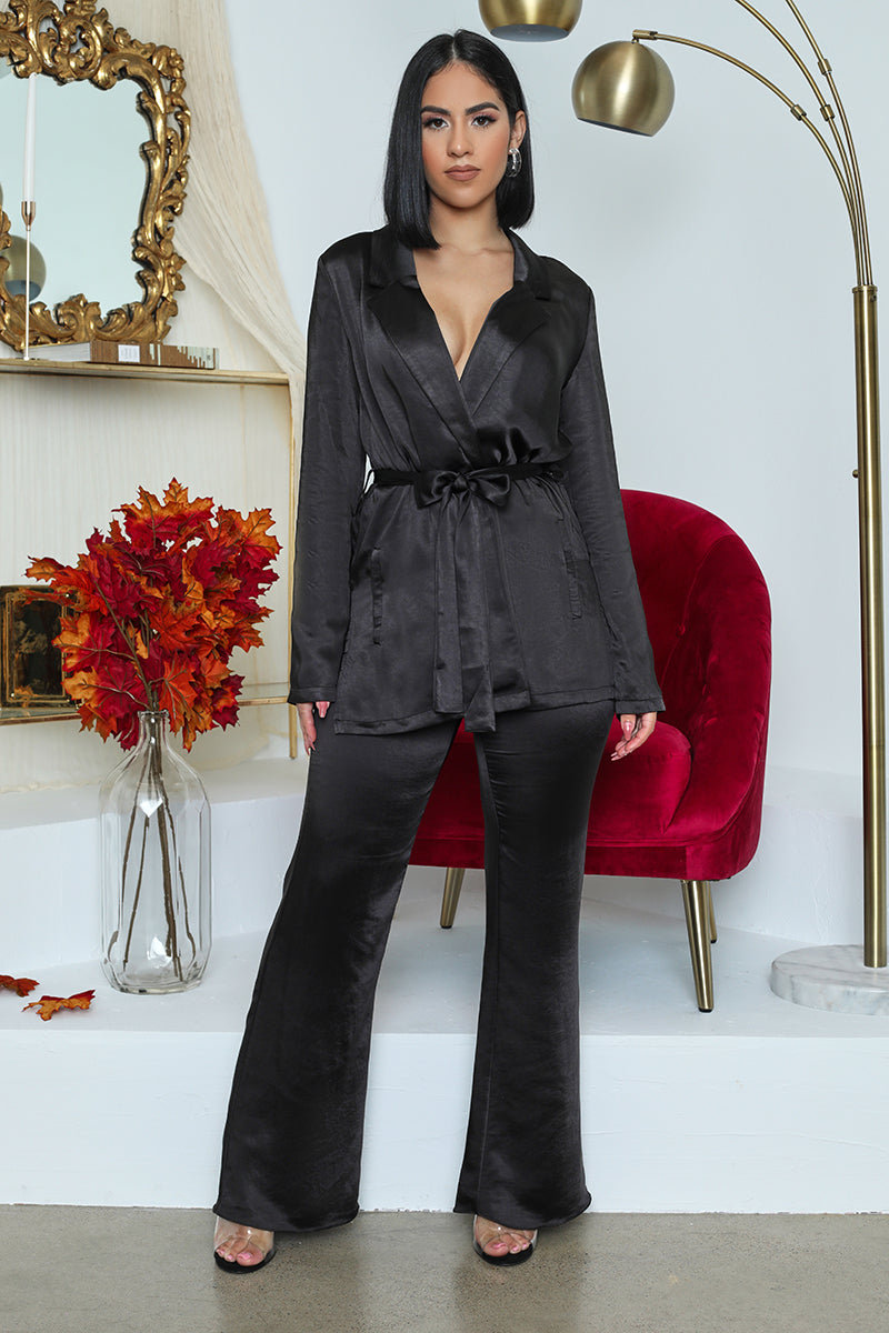Silk Like Blazer Pants Set (Black)