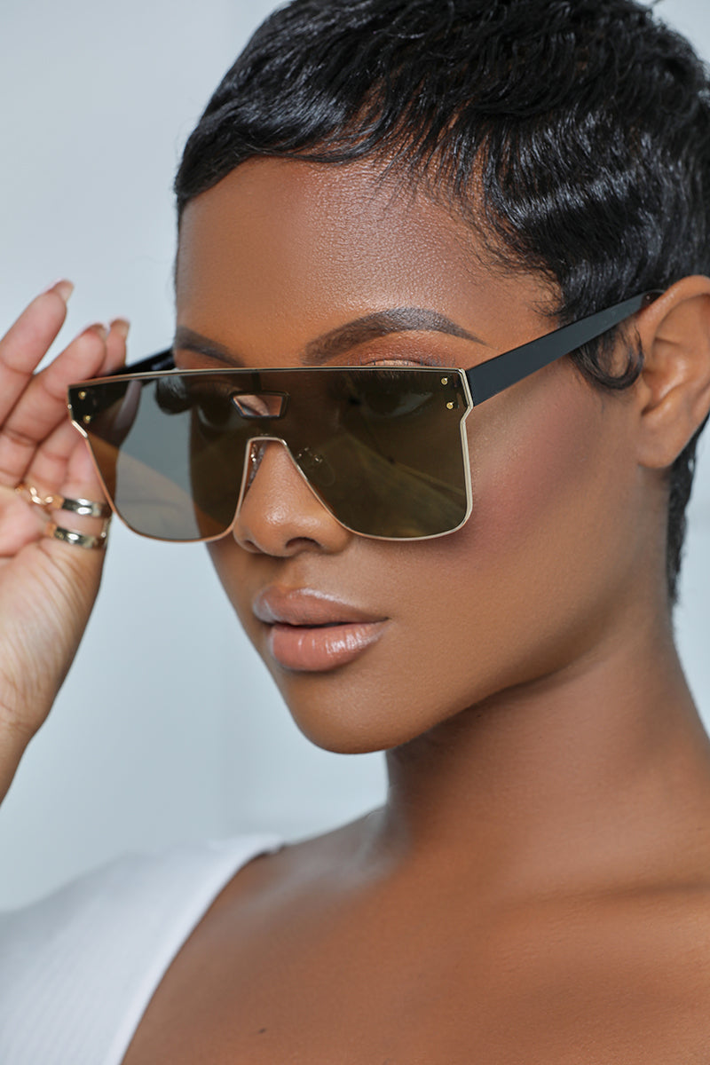 Gold Small Frame Sunglasses (Yellow Tint)