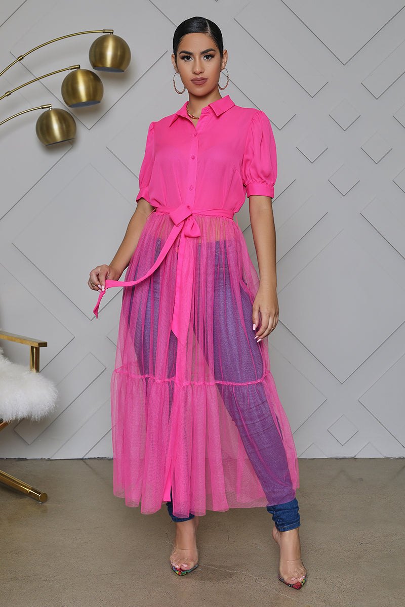 Button Up Tulle Top (Hot Pink)