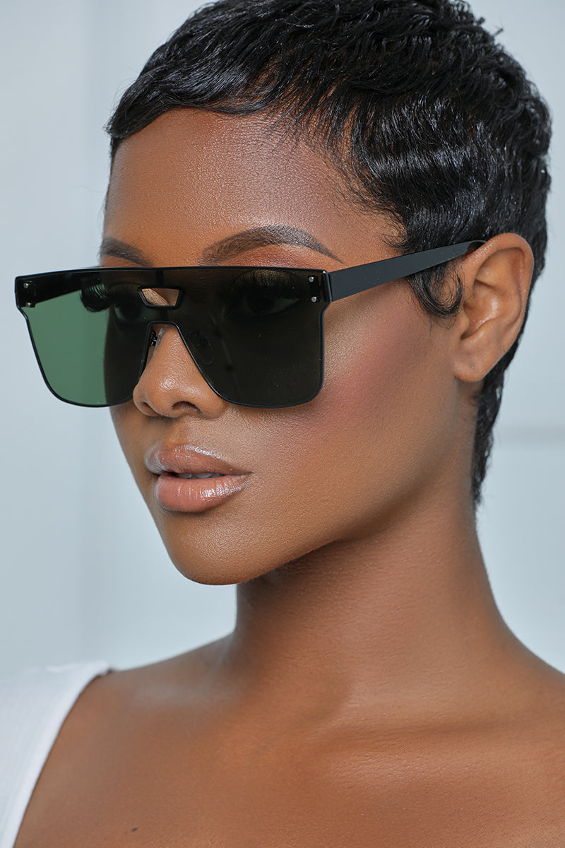 Black Small Frame Sunglasses (Green Tint)