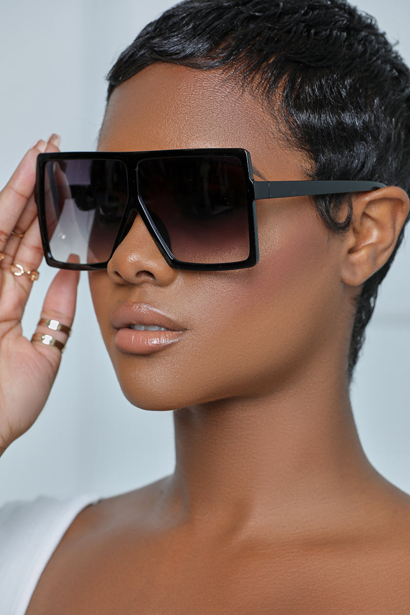 Oversized Square Tinted Sunglasses (Black)