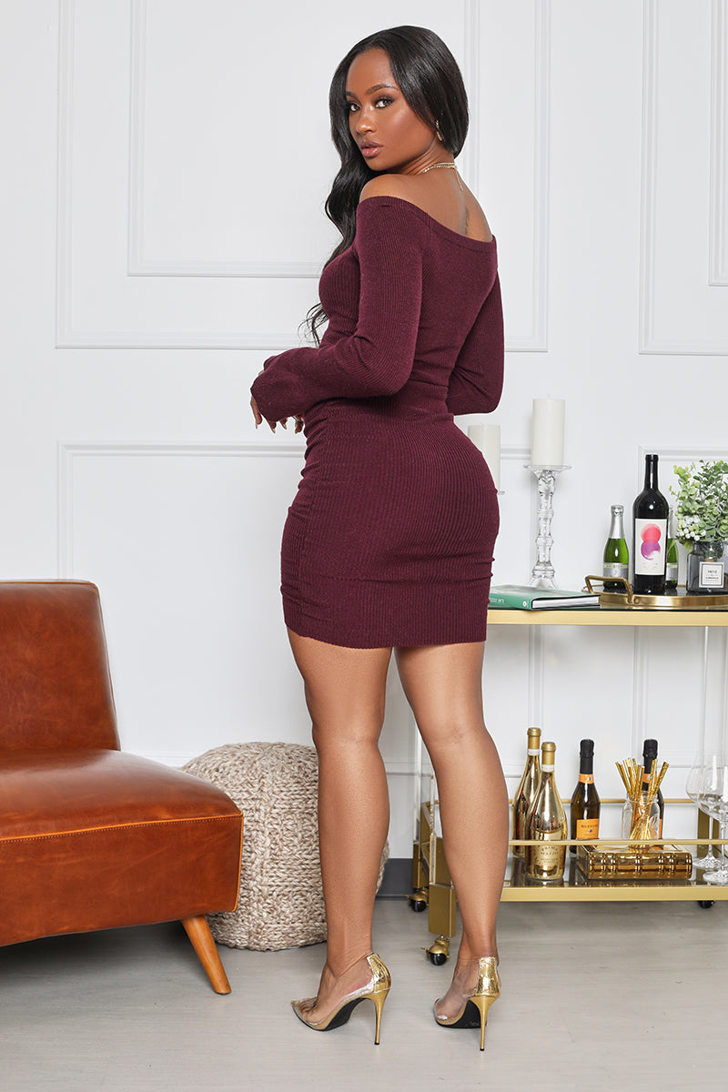 Ruched and Ready Long Sleeve Mini Dress (Wine)