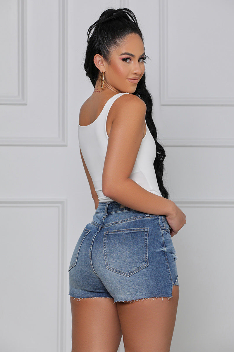 Oooo Girl Denim Shorts (Dark Wash)