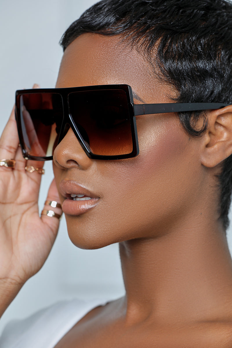 Oversized Square Tinted Sunglasses (Brown)