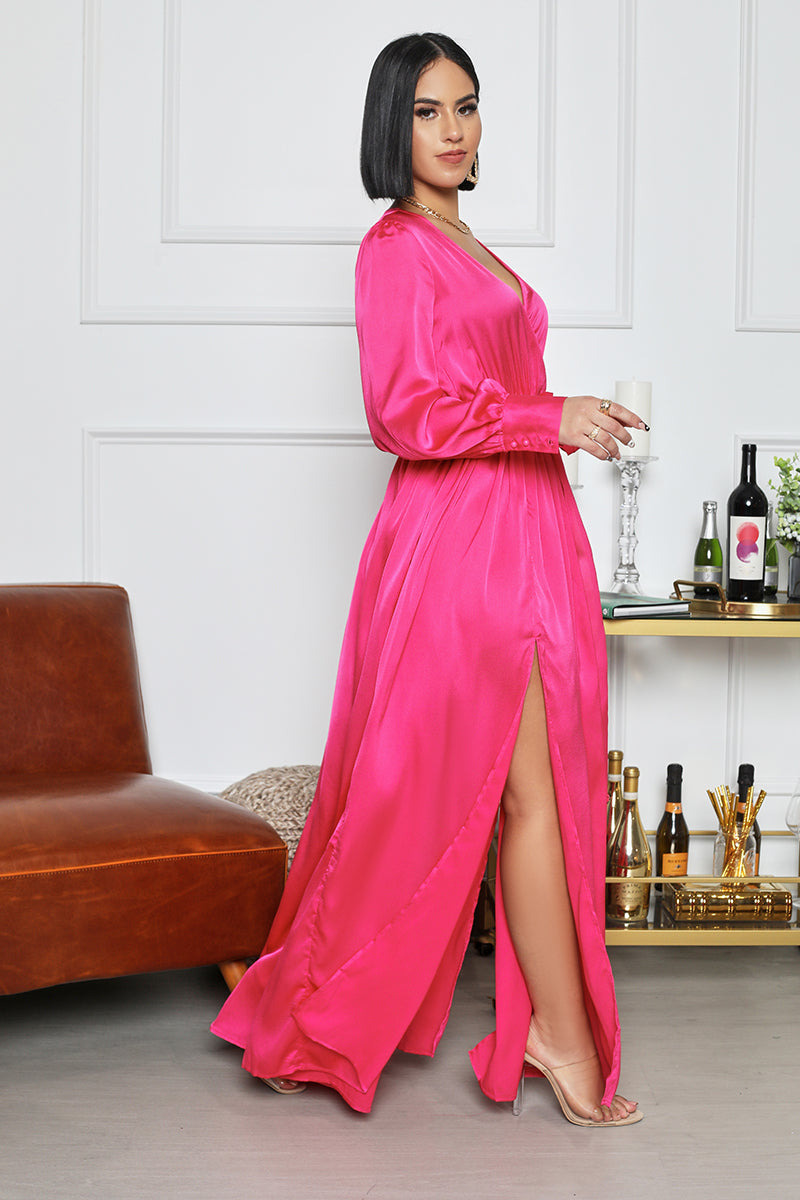 Surplice Silk Maxi Dress (Hot Pink)