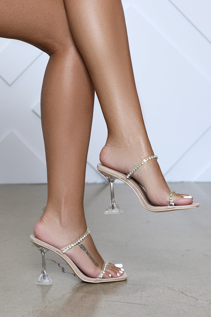 Crew Rhinestone Embellished Double Strap Pedestal Heel (Nude)