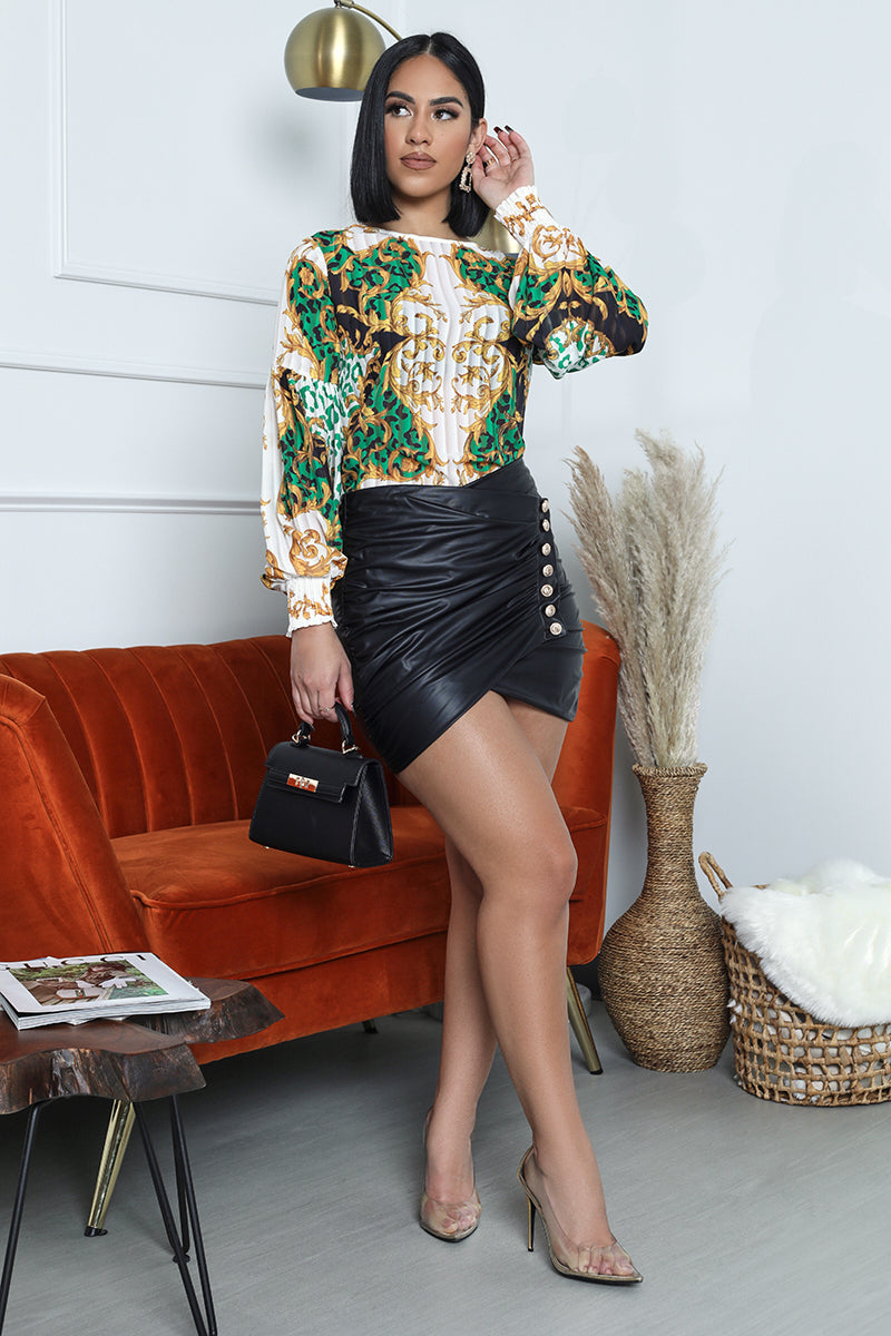 Baroque Pleated Top (Green/Gold)