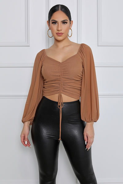 She's Got It Ruched Mesh Long Sleeve Top (Nude)