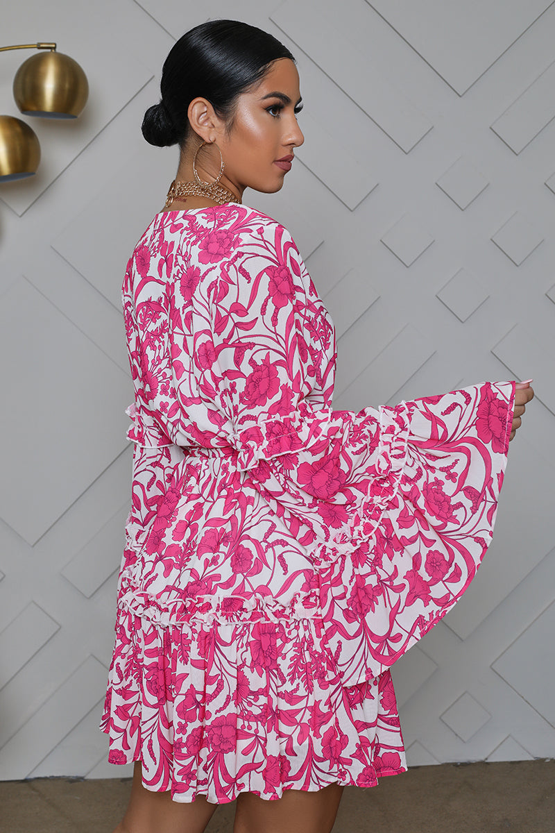 Floral Bell Sleeve Babydoll Dress (Hot Pink)