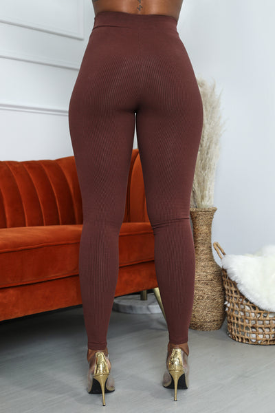 Ribbed High Waist Legging (Chocolate)