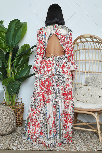 Floral Cut Out Open Back Maxi (White/Red)