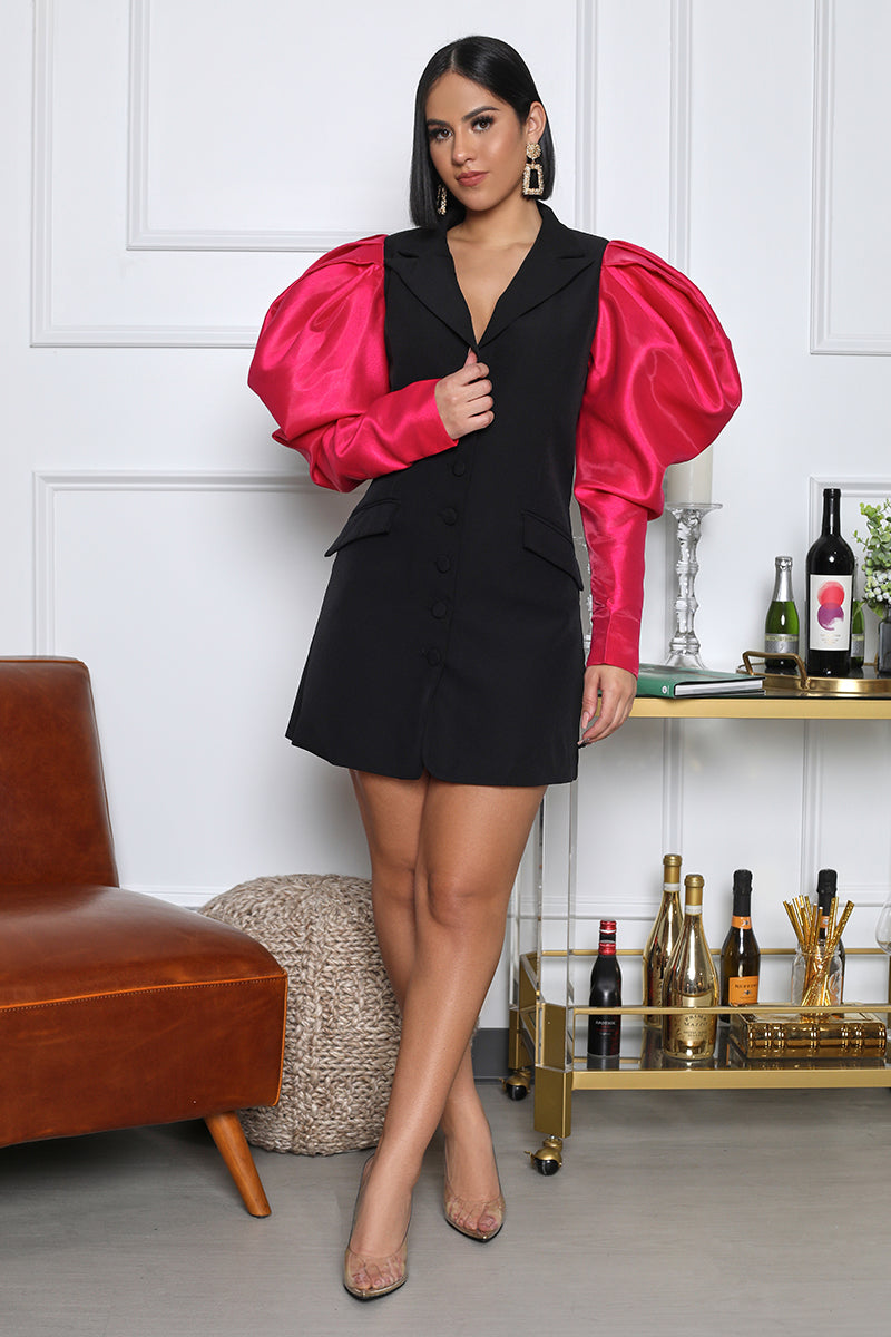 I Mean Business Satin Sleeve Blazer Dress (Black)
