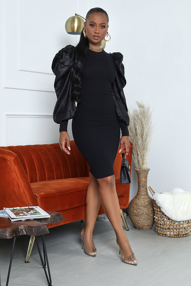 Balloon Sleeve Bodycon Midi Dress (Black)