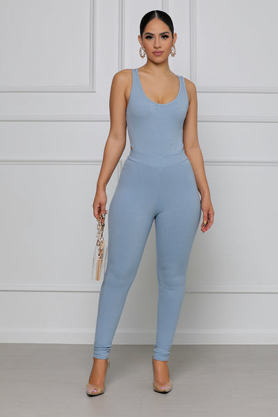 Feelin' Myself Ribbed Legging Set (Baby Blue)