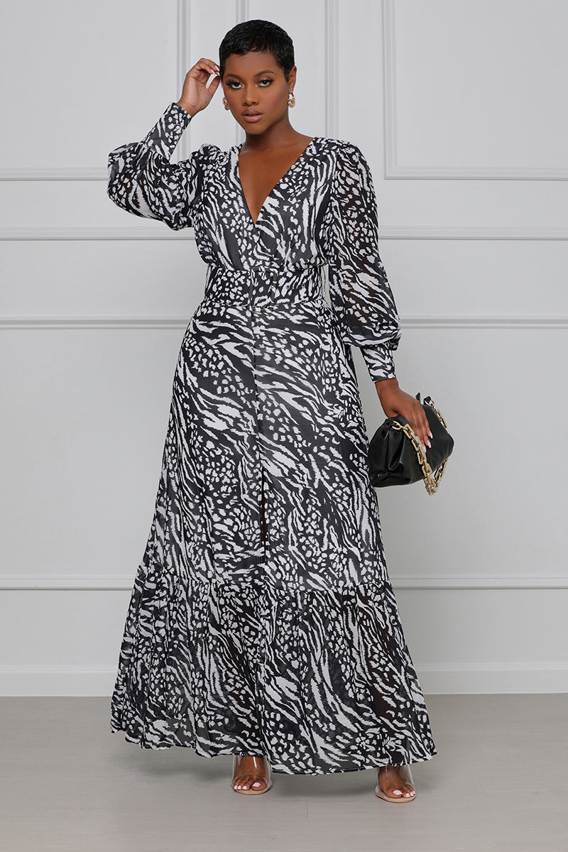 Doing My Thing Belted Maxi Dress (Black & White)