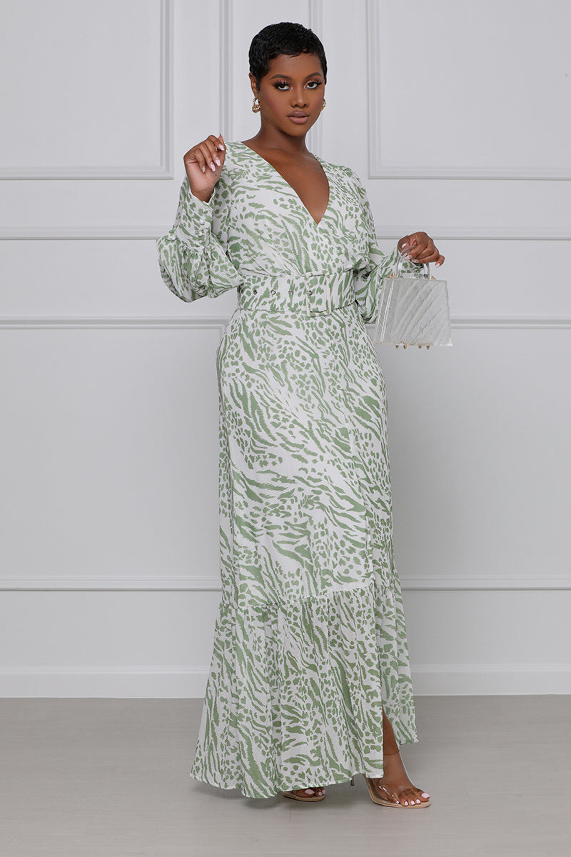 Doing My Thing Belted Maxi Dress (Green & White)