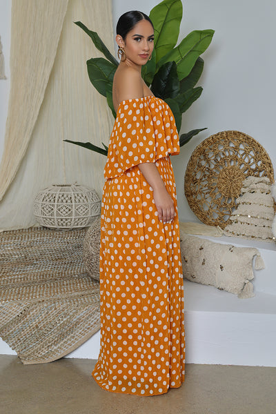Polka Dot Off The Shoulder Pleated Maxi Dress (Orange)