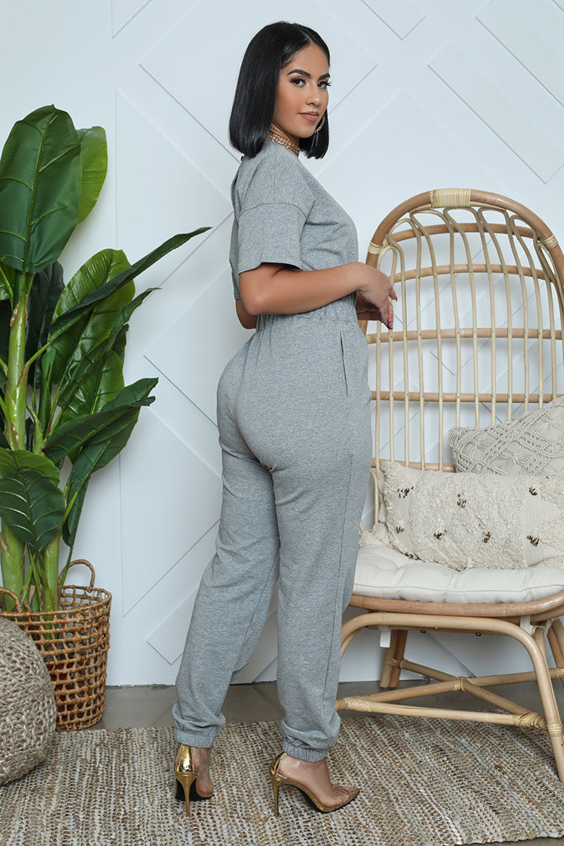 Cozy Jogger Pant Jumpsuit (Grey)