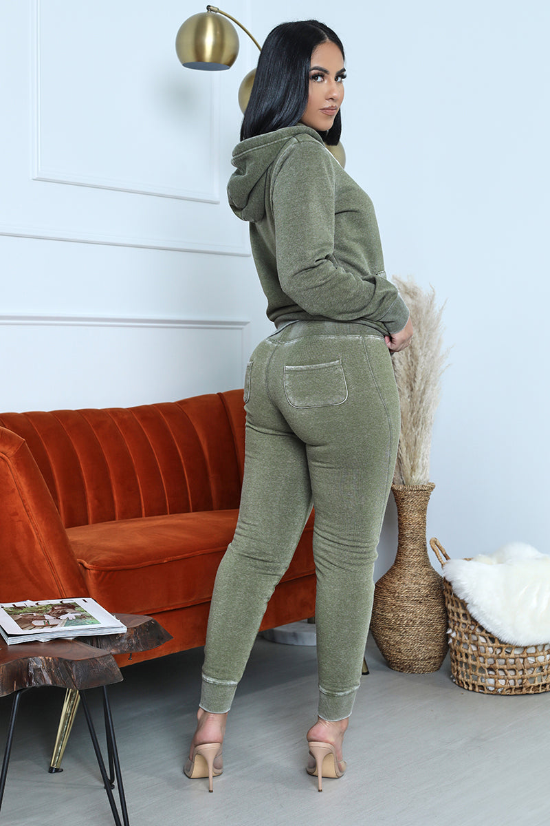 Acid Wash Jogger Set (Olive)