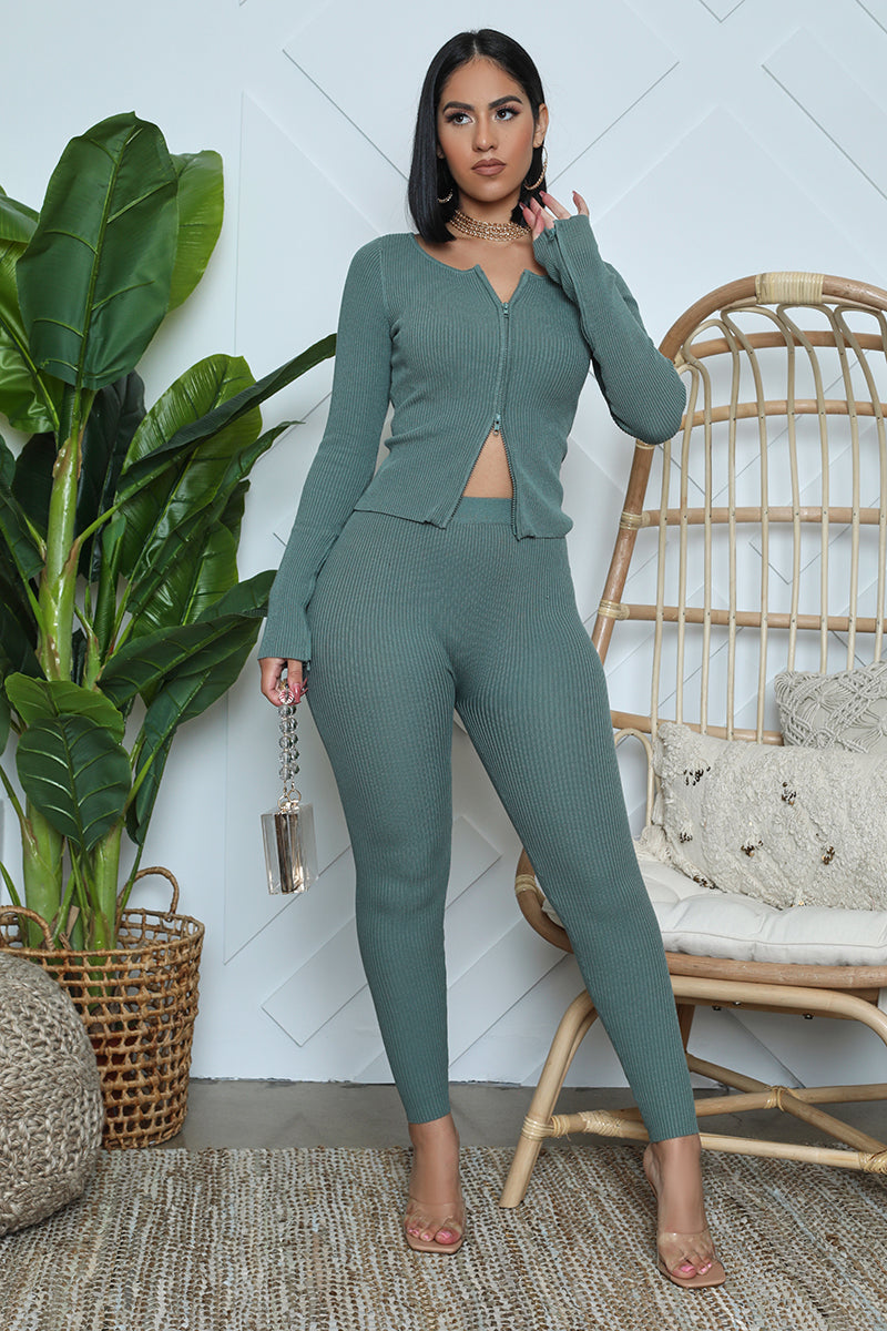 Ribbed Zip Front Jacket Legging Set (Blue)