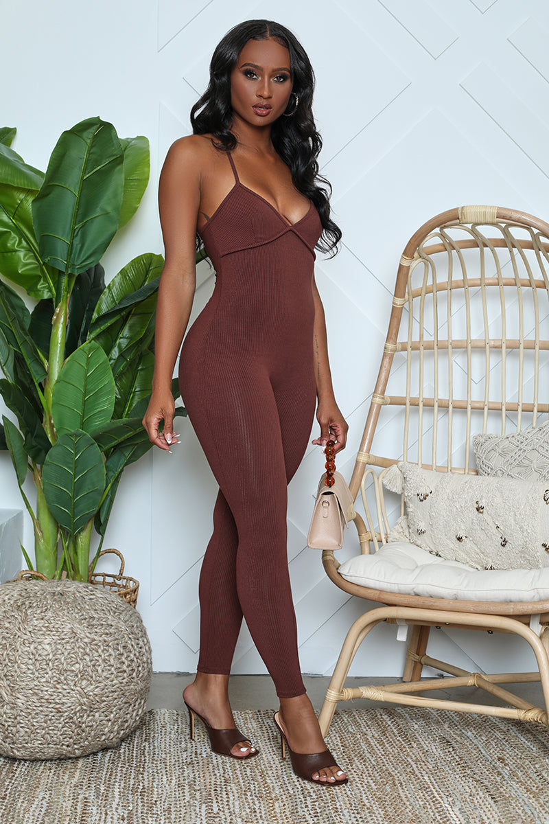 Ribbed Cross Back Bodycon Jumpsuit (Brown)