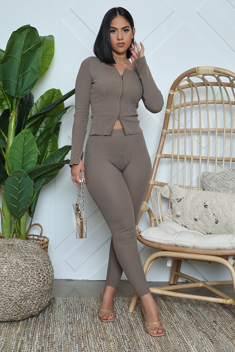 Ribbed Zip Front Jacket Legging Set (Mauve)
