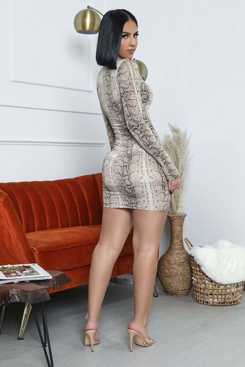 Snake Print Mini Dress (Tan Snake)