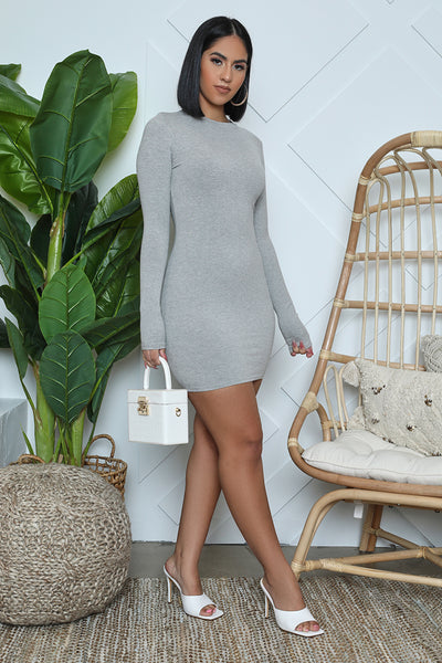 Ribbed Long Sleeve Bodycon (Grey)