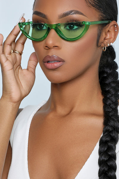 Gives Me Life Half Rim Sunglasses (Green)