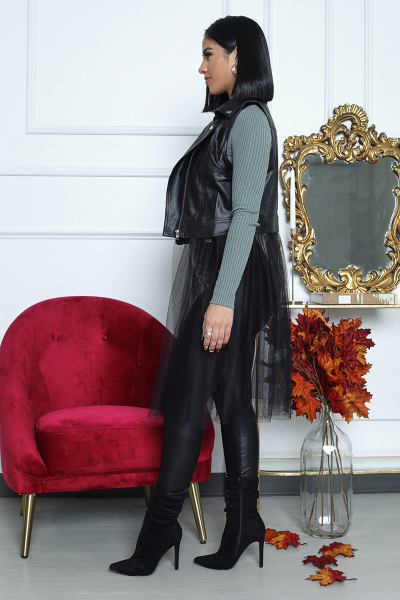 Sleeveless Leather Vest With Tulle (Black)