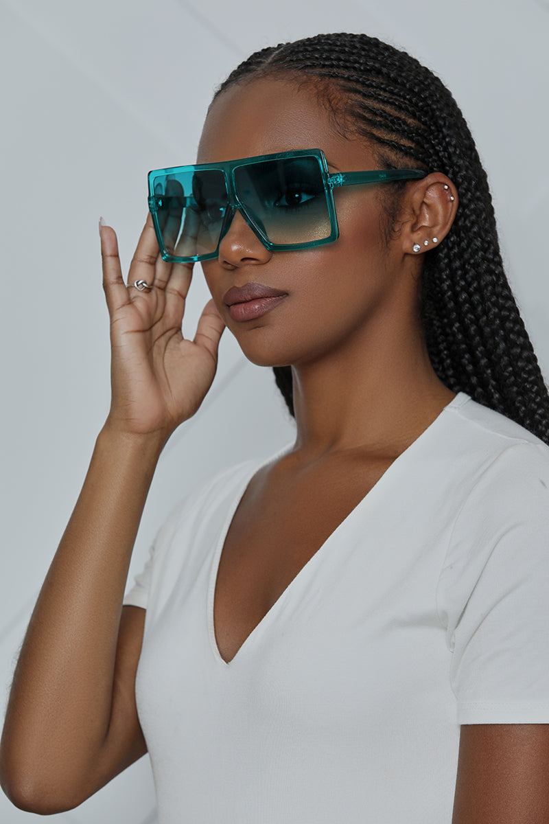 Square Oversized Sunglasses (Turqoiuse)